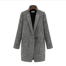 Coat Woman Plaid Female Jacket Wool Coat Winter One Button Coat Women Pocket