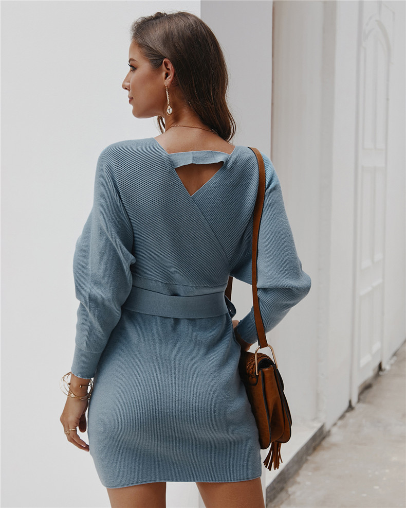 Long Sleeve Sashes Tied Knitted Wrap Sweater Dress 6