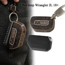 Car Key Holder Bag Key Case For Jeep Wrangler JL  Gladiator JT 2018 2019 2020 2021 2022 Interior Accessory Black Brown Leather