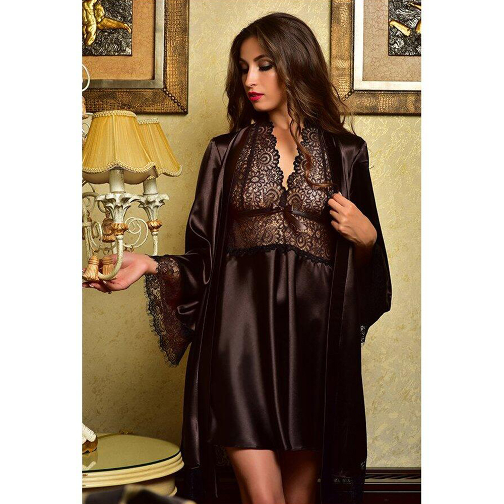 Robe Set Sexy Women Satin Bathrobe Nightgown 2pcs Suit Nightwear Robe And Lace Sleepdress Femme Hot Erotic Mini Night Dress D35