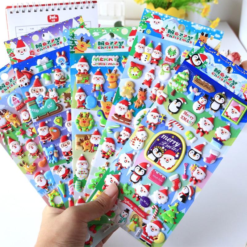 Christmas Santa Claus Elk 3D Cartoon Foam Decorative Stickers Scrapbooking Stick Label Diary Stationery Album Stickers