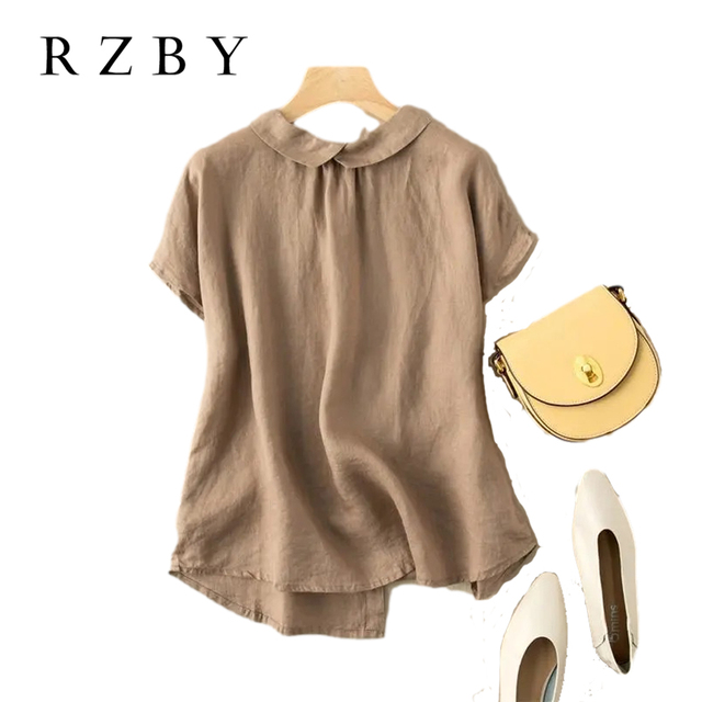 New Arrival 2021 Summer Women Peter Pan Collar Short Sleeve Shirt All-matched Casual Cotton Linen Loose Blouse Plus Size RZBY279 1