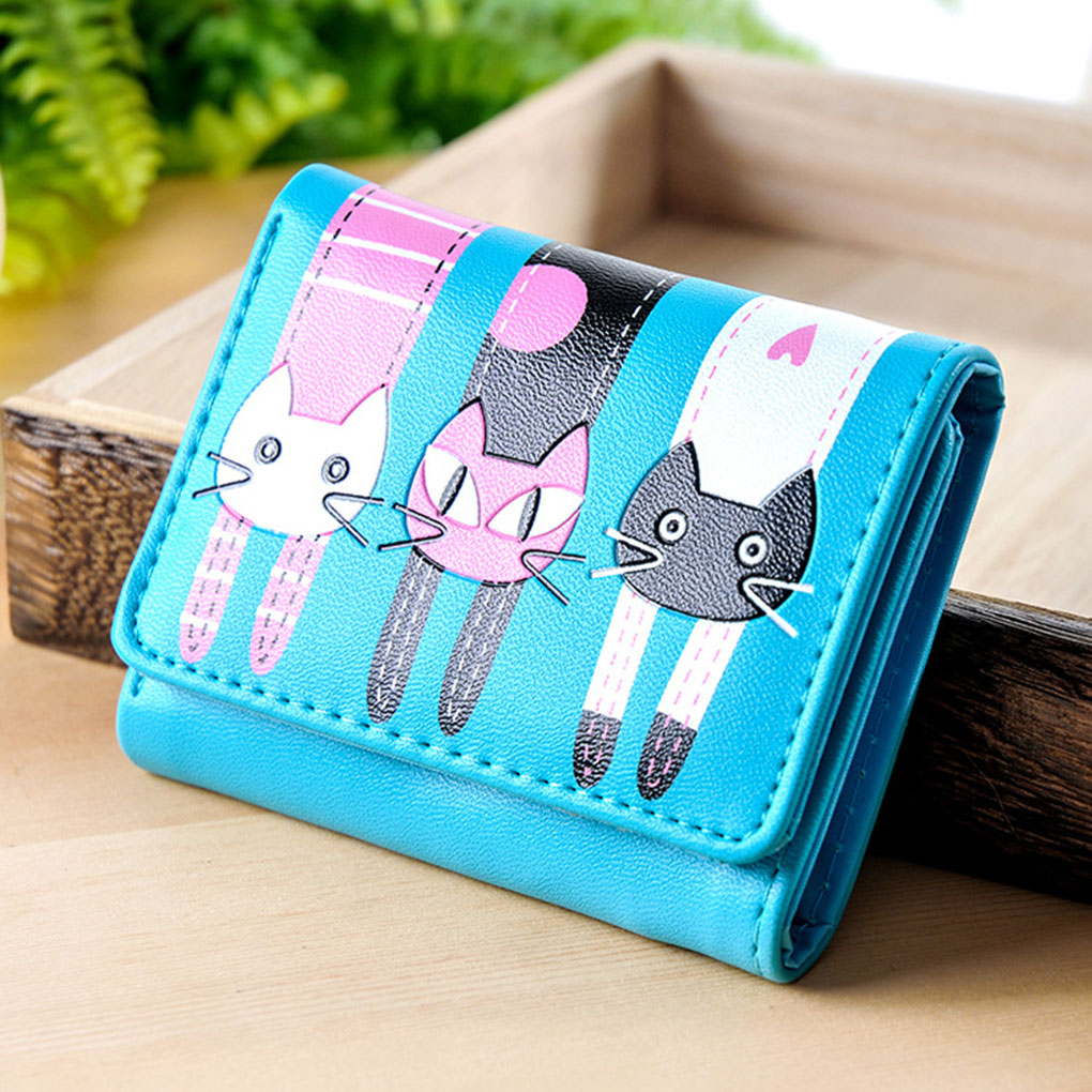 Cartoon Wallet Bag Women Ladies Girls Cat Pattern Coin Purse Short Wallet Card Holders Lovely Cat Print