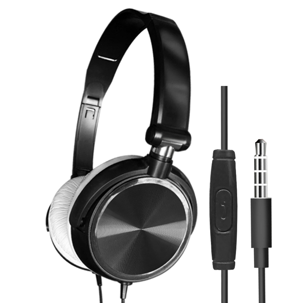 Wired Foldable Deep Bass On-ear Earphones W/ Microphone 3.5mm Interface Headphones For Cellphones Laptop Tablet Mp4 Mp3 Headset