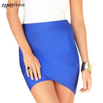 UpAvonu Bandage Rayon Good Elastic White Women Skirts Mini Sexy Slim Pencil Clubwear Suitable Black Gray Rose Green HL135-2