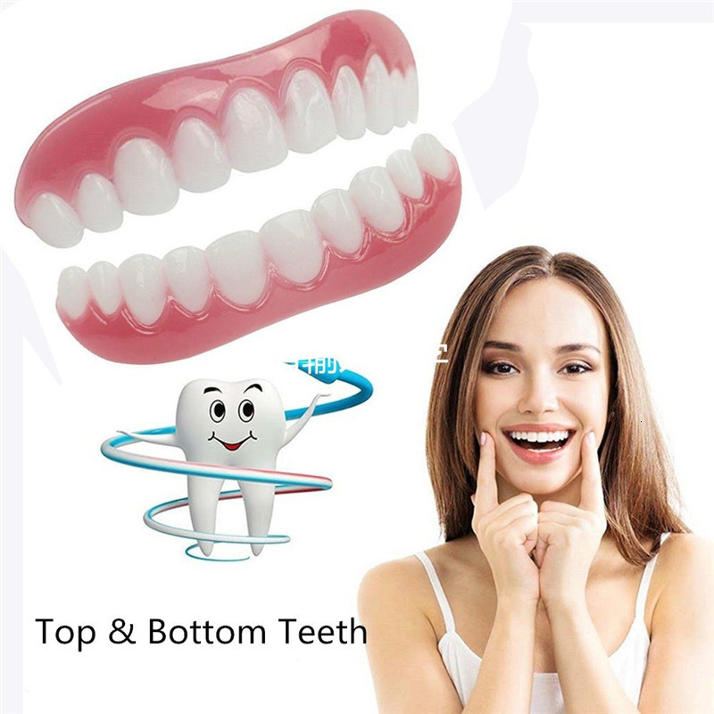 1PC Upper Row Of White Teeth Set Silicone Simulation On The Row Dentures Set Veneers Flex Denture Perfect Fit Paste Tools