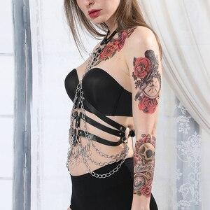 Image 3 - Arnés con correa de cuero para mujer, lencería para Bondage corporal, liguero, arnés corporal, cinturón de cadena, sujetador, jaula, Punk, gótico