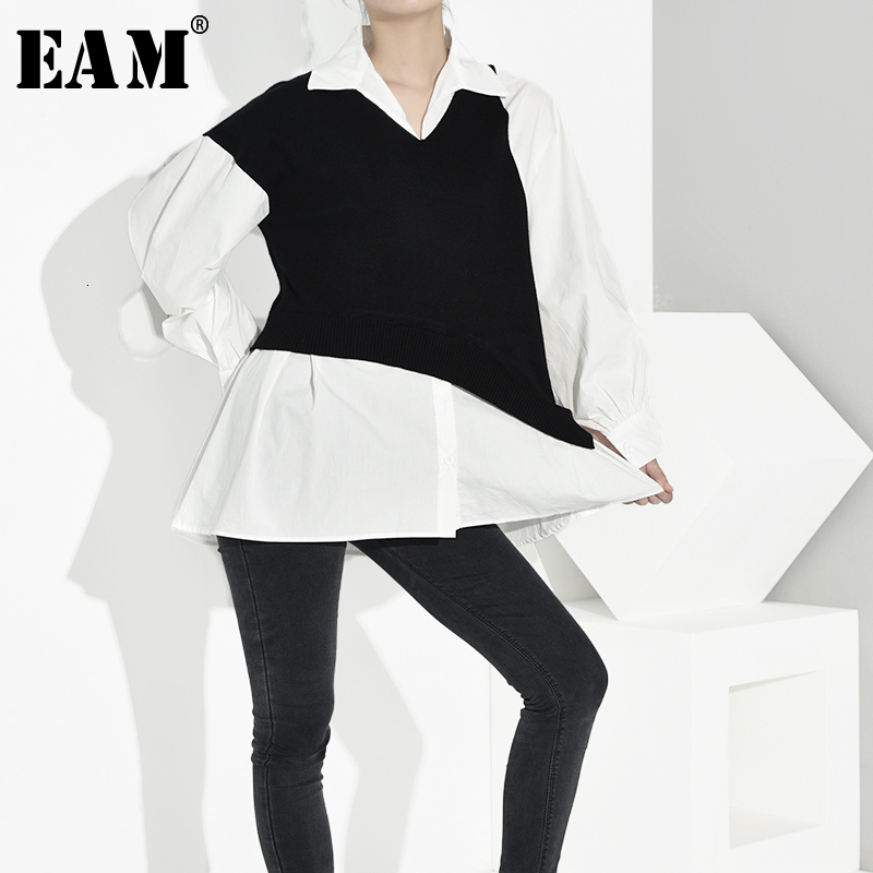[EAM] Women Black Knitting Contrast Color Blouse New Lapel Long Sleeve Loose Fit Shirt Fashion Tide Spring Autumn 2019 1A657
