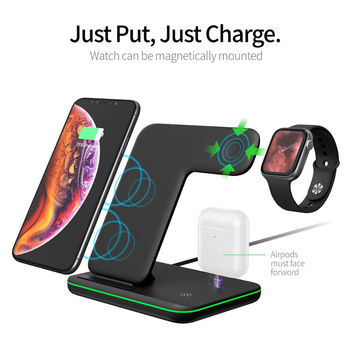 15W Fast Qi Wireless Charger Stand For iPhone 11 XS XR X 8 Samsung S10 S9 10W 3 in 1 Charging Dock for Apple Watch 5 4 3 Airpods 1