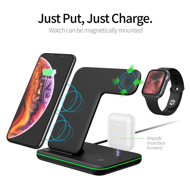 15W Fast Qi Wireless Charger Stand For iPhone 12 11 XS XR X 8 3 in 1 Charging Dock Station for Apple Watch 6 SE 5 4 Airpods Pro 2