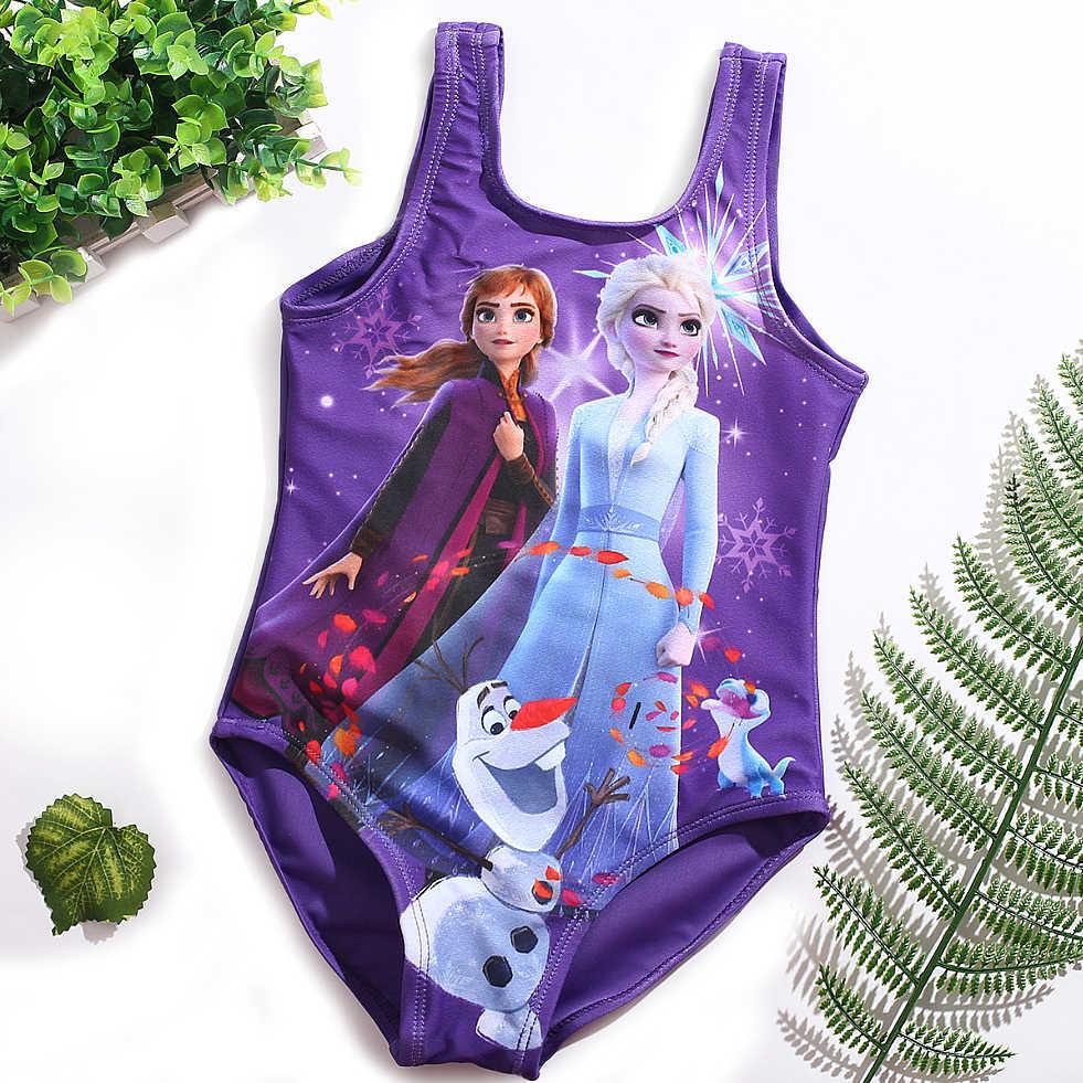 새로운 3-10Y 십대 소녀 수영복 키즈 비치웨어 2020 원피스 소녀 엘사 안나 수영복 고품질 어린이 수영복