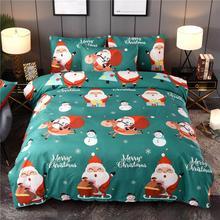 Рождественская кровать пододеяльник Санта Клаус узор полиэстер наволочка пододеяльник набор год Рождественские украшения для дома