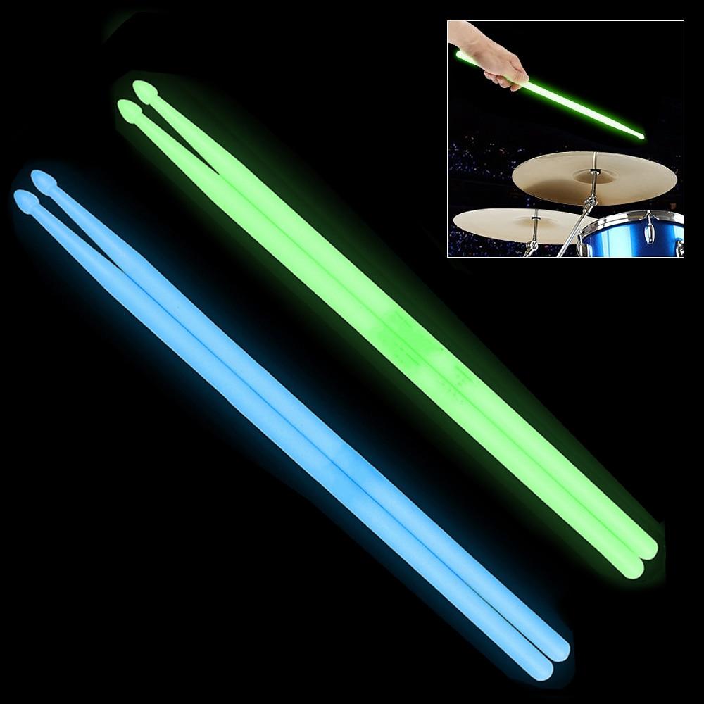 2pcs/lot Noctilucent  5A Drum Stick Glow In The Dark Stage Performance Luminous Drumsticks 2 Colors Optional