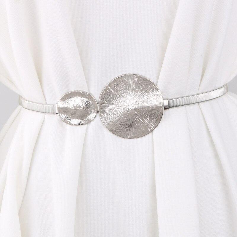 Metal Elastic Metal Waist Silver Color Chain Belts Brand Female Double Buckle Round For Women Dress Strap Waistband Cummerbunds