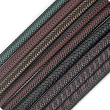 1meter 12x6mm Flat Genuine Leather Braided Cord Rope String Fashion Leather Bracelet Craft DIY Jewelry Findings Making
