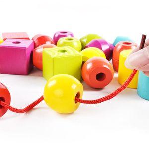Деревянные бусины на шнуровке геометрической формы, детские блоки Монтессори, развивающая игрушка в подарок детям