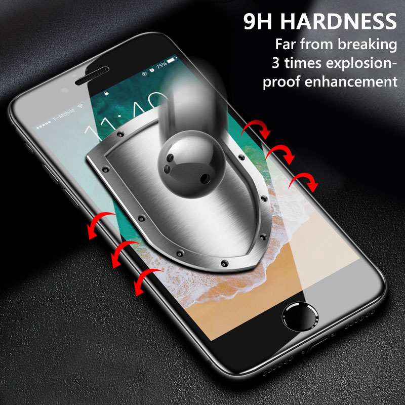 Image 2 - 3Pcs Full Cover Screen Protector For iPhone 6 7 8 6S Plus Tempered Glass On The For iPhone X XR XS MAX Protective Glass Film-in Phone Screen Protectors from Cellphones & Telecommunications