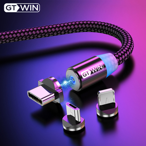 GTWIN Magnetic Cable Micro USB Type C Cable for iPhone Samsung Xiaomi Magnet USB Charging Cable USB-C Magnet Phone Cord Charger