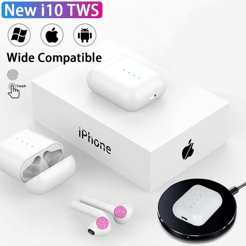 New i10 <font><b>tws</b></font> Wireless Headphones Bluetooth Earphone 5.0 Air in Ear Auriculares Earbuds Headset Touch control For iPhone HuaWei image
