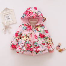 1-4y Baby Girl Clothes Autumn Winter Kids Jacket Infants Girls Hooded Printing Down Jackets Coat Toddler Clothing Warm Outerwear