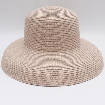 HT2303 New Summer Sun Hats Ladies Solid Plain Elegant Wide Brim Hat Female Round Top Panama Floppy Straw Beach Hat Women 7