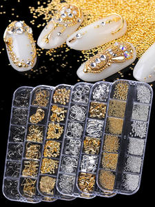 12 Grids Metal Rivet Nail Art Decoration Studs Mix Style Stars Moon Gold Silver Strass Jewelry DIY 3D Charms Accessories CH772-1