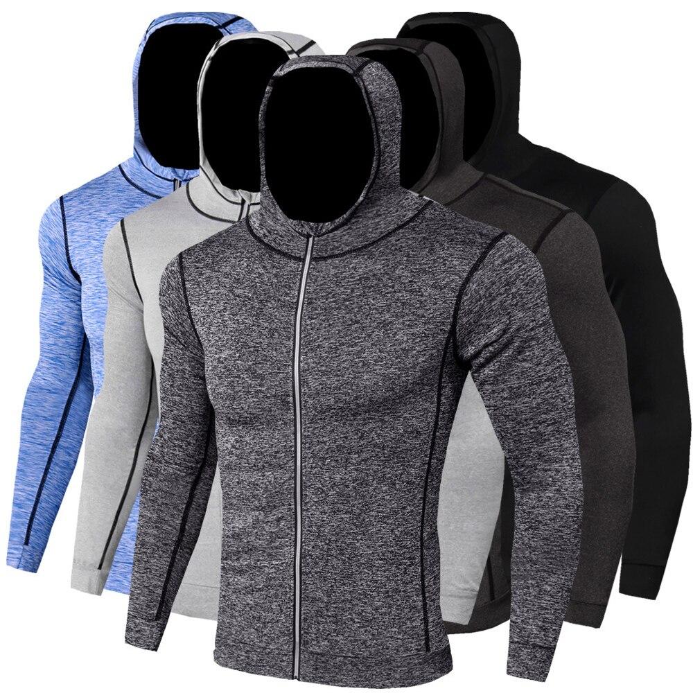 New Winter Autumn Hoodies Sport Shirt Men Hat Zipper Running Jackets Fitness Gym Sports Clothing Sport Top Men's Sportswear