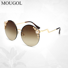 цена на MOUGOL 2019 Europe and the United States fashion new round sunglasses modern retro sunglasses imitation pearl inlaid sunglasses