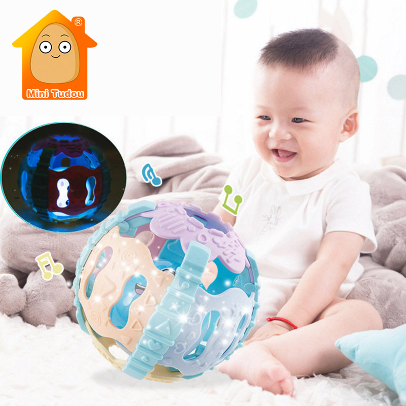 0-12 Months Baby Soft Cartoon Hand Rattle Toy Colorful Plastic Rubber Hand Bell Ball Early Educational Toys For Infant