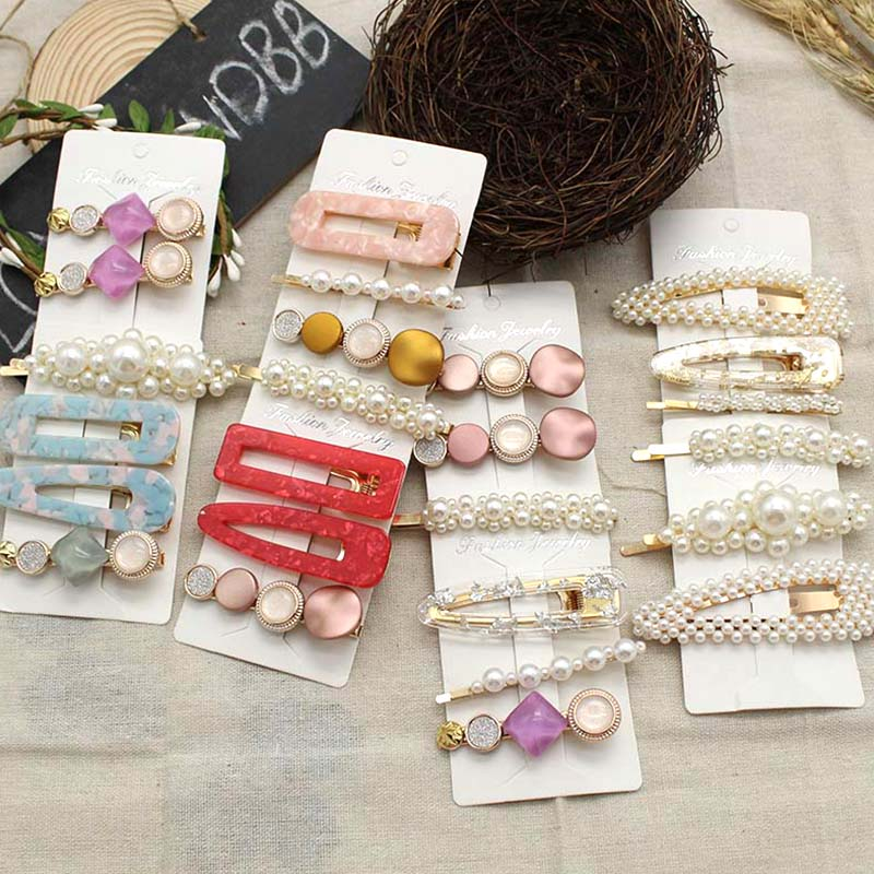2019 New Hair Clips For Women Girls Pearl Hollow Gold Pin Tin Foil Sequins Woman Hairpins
