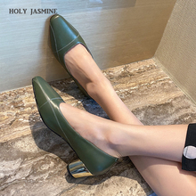 2020 New Arrival Genuine Leather Square Heels Women Pumps Concise Office Lady Elegant Shallow Slip on Solid Sweet Work Shoes 2020 new fashion cow leather shallow square heel big size women pumps slip on elegant wedding office lady party metal sexy shoes