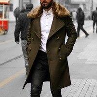 Мужское шерстяное пальто, зимнее пальто с воротником из искусственного меха, теплое длинное пальто, мужское пальто, Тренч, пальто, модная ви...
