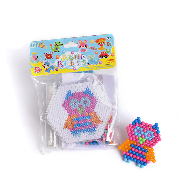 Owl Pattern Magic water Beads Puzzle Toys Water Mist Bead Set DIY Craft Animal Handmade Sticky Beads Educational Toys for Kids
