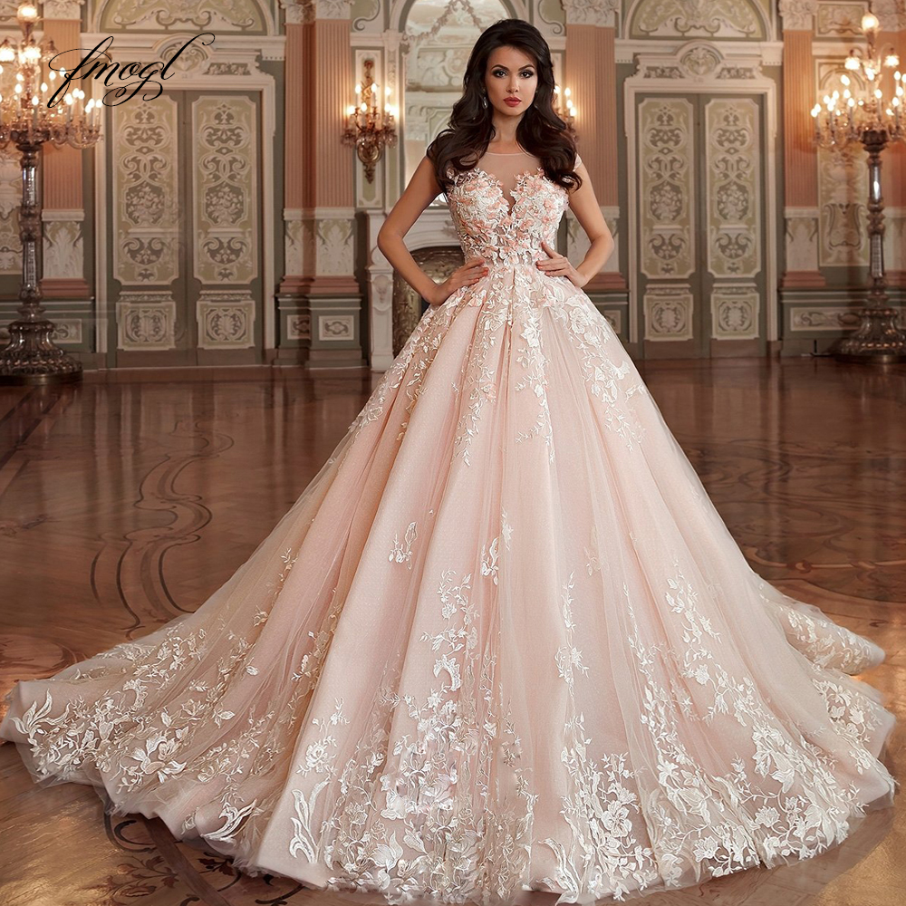 Fmogl Sexy Backless Flowers Lace Princess Wedding Dresses 2020 Luxury Appliques Beaded Chapel Train Vintage A Line Bridal Gowns(China)