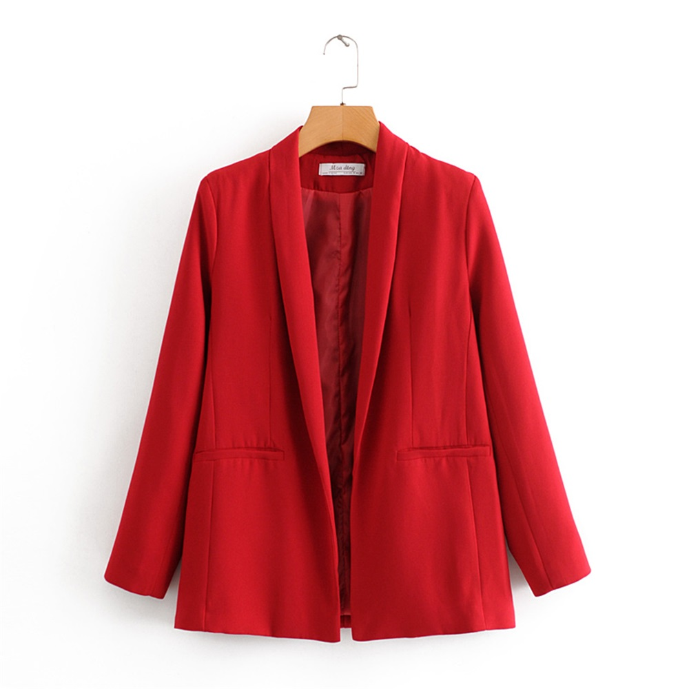 2020 Spring Women's New Lapel Seven-point Sleeves Fashion Wild Closing Waist Was Thin Solid Color Buttonless Suit