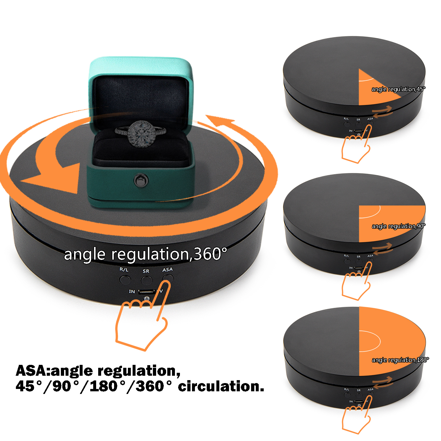 Motorized Rotating Turntable, 360 Degree Electric Rotating Display Stand for Jewelry Hobby Collectible Product