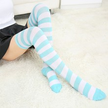 Fashion Women Girls Over Knee Long Stockings Sexy Stripe Printed Thigh High For Cosplay