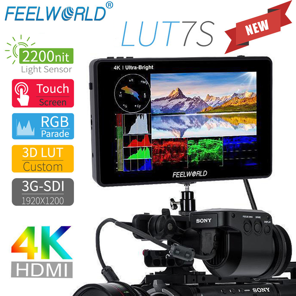FEELWORLD LUT7S 7 Inch 2200nits 3D LUT Touch Screen Field Monitor 3G-SDI 4K HDMI Full HD 1920x1200 IPS Monitor For DSLR Cameras