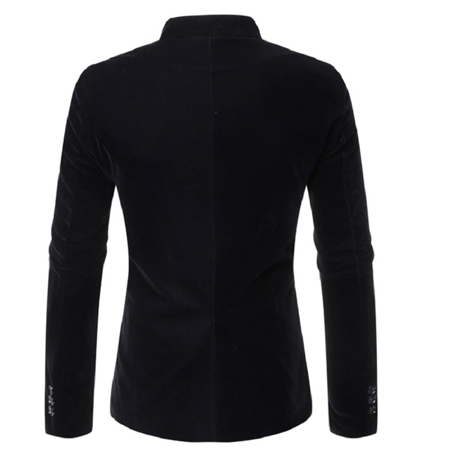 Men's Slanted Lapel and Double-breasted Stand-up Collar  Jacket