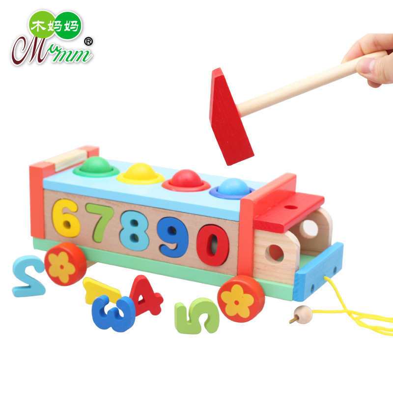 Children'S Educational Early Childhood Luggage Trolley Trailer Toy Wooden Shape Matching With Numbers Cognitive Knock Golf Cart