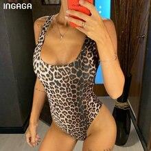 INGAGA Leopard Swimsuits Fused Swimwear Women Sexy High Cut One-piece Bathing Suit 2021 New Push Up Bodysuit U-back Beachwear