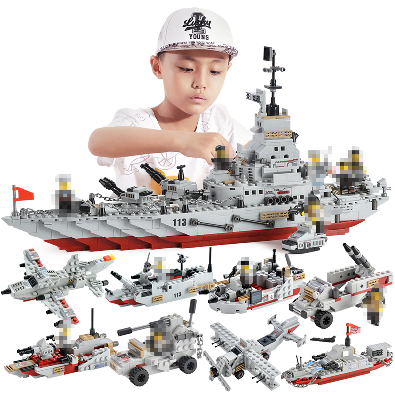 1000+ PCS Military Warship Navy Aircraft Army Figures Building Blocks LegoINGlys Army Warship Construction Bricks Children Toys