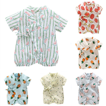 Newborns Clothing For Baby Summer Clothes Girls Boys Short Sleeve Fruit Print Romper Infant Clothing Set Lace-Up Babies Outfit costumes for newborns baby boys infant pullover clothes for babies loungewear layette sets t shirts pants for girls clothing set