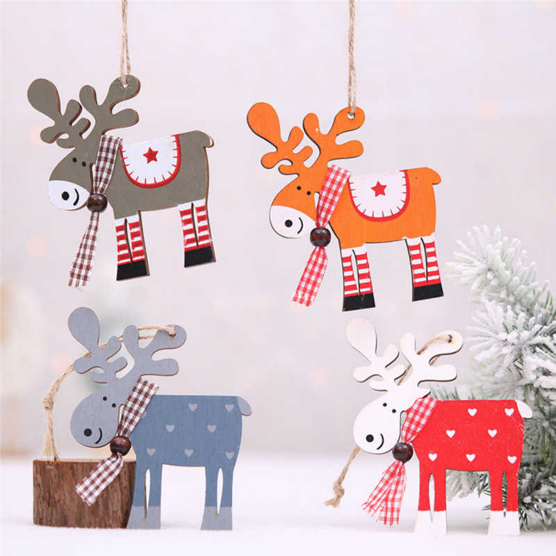 ใหม่ปี 2020 ล่าสุด DIY หัตถกรรมไม้เครื่องประดับ Elk เด็กของขวัญ Noel คริสต์มาสตกแต่งสำหรับคริสต์มาส Xmas ต้นไม้ไม้จี้