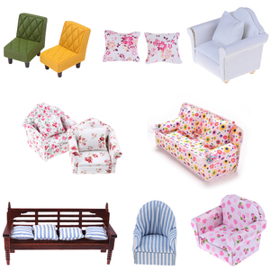1:12 miniature soft sofa for dolls mini furniture toys dollhouse pretend play toy for girls gifts children decoration