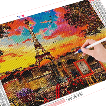 HUACAN Diamond Painting Full Drill Landscape 5D DIY Diamond Embroidery Mosaic Iron Tower Cross Stitch
