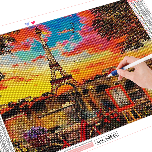 HUACAN Diamond Painting Full Drill Landscape 5D DIY Diamond Embroidery Mosaic Iron Tower Cross Stitch Home