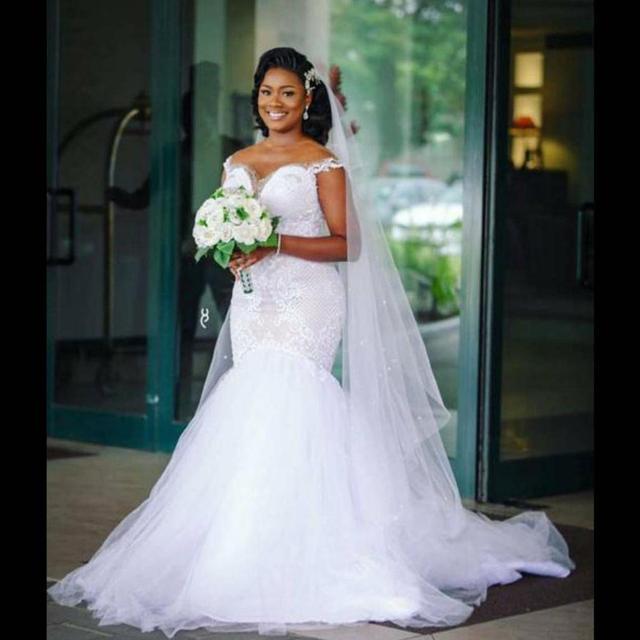 Vintage African Mermaid Wedding Dresses 2020 Off the Shoulder vestido de noiva Plus Size Lace Sweep Train Wedding Bride Dress 2