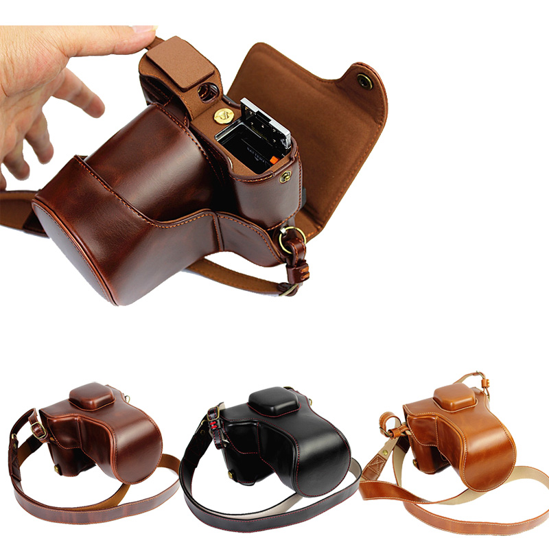 Luxury PU Leather Camera Bag For Fujifilm XT10 XT20 XT30 18-50mm lens Camera Case Leather With Strap Open Battery Desigb