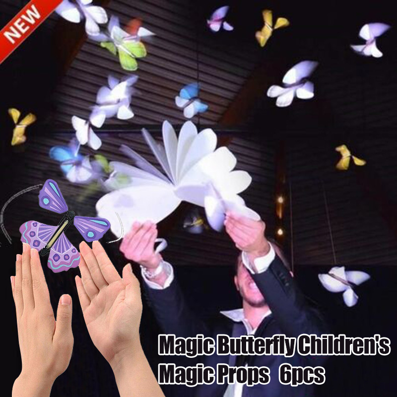 6 Pcs Magic Props Flying Butterflies Rubber Band Powered Surprise Toy For Children Wedding PAK55